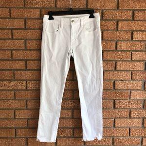 AEO White Raw Hem Jegging Crop Jeans